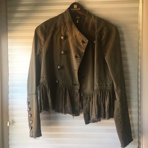 Free People ruffle-hem military jacket